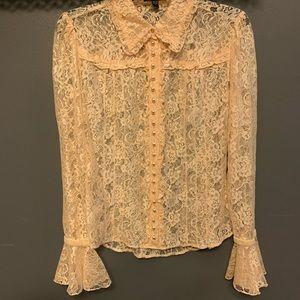 Bebe vintage lace button down blouse. Pearl button